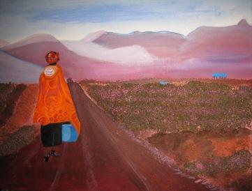 met haar jongste kind op haar rug loopt Maithabeleng door de heuvels van Lesotho
